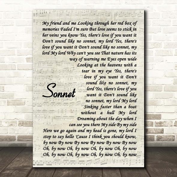 The Verve Sonnet Vintage Script Song Lyric Print