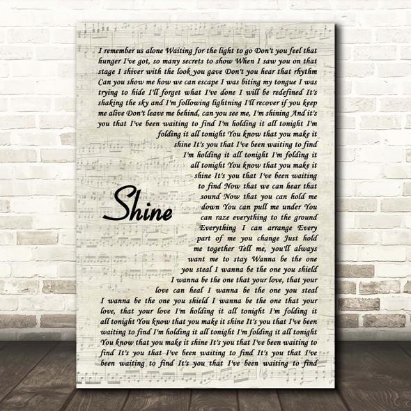 Years & Years Shine Vintage Script Song Lyric Print