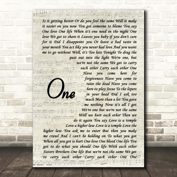 U2 One Vintage Script Song Lyric Print