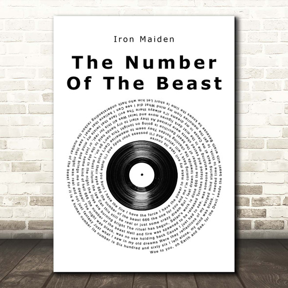 Iron Maiden The Number Of The Beast Vinyl Record Song Lyric Print