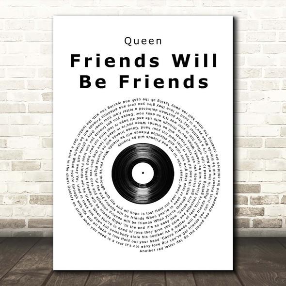 Queen Friends Will Be Friends Vinyl Record Song Lyric Print
