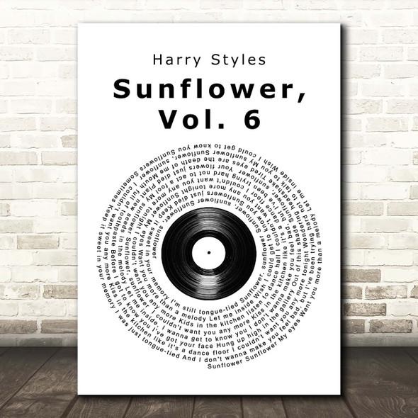 Harry Styles Sunflower, Vol. 6 Vinyl Record Song Lyric Print