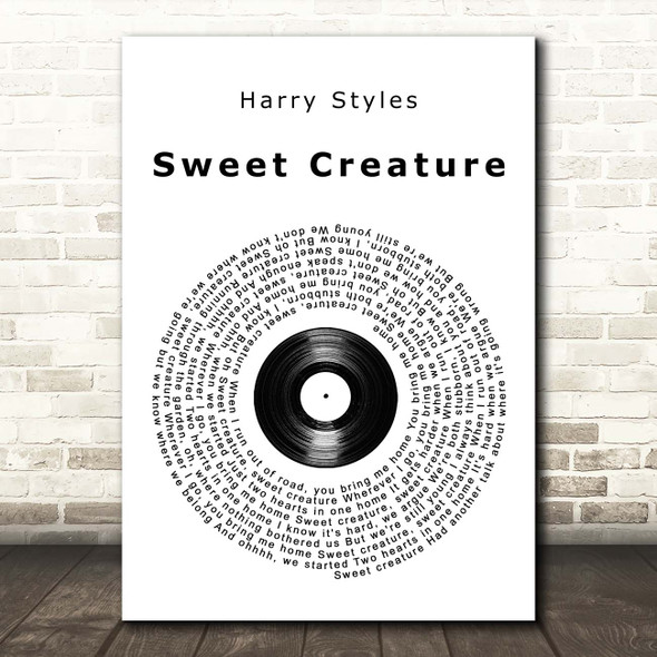 Harry Styles Sweet Creature Vinyl Record Song Lyric Print