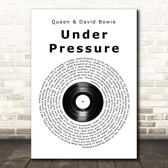 Queen & David Bowie Under Pressure Vinyl Record Song Lyric Print