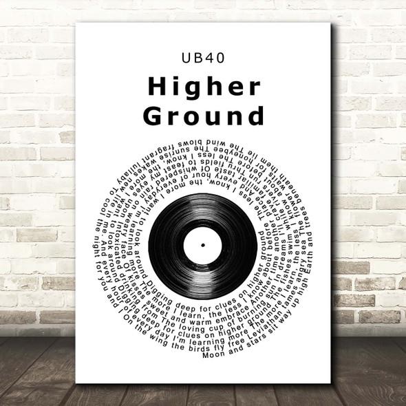 UB40 Higher Ground Vinyl Record Song Lyric Print