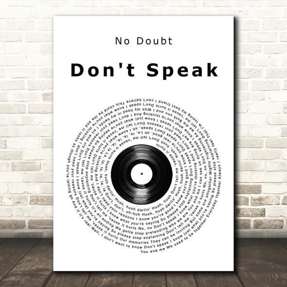 No Doubt Don't Speak Vinyl Record Song Lyric Print