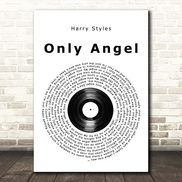 Harry Styles Only Angel Vinyl Record Song Lyric Print