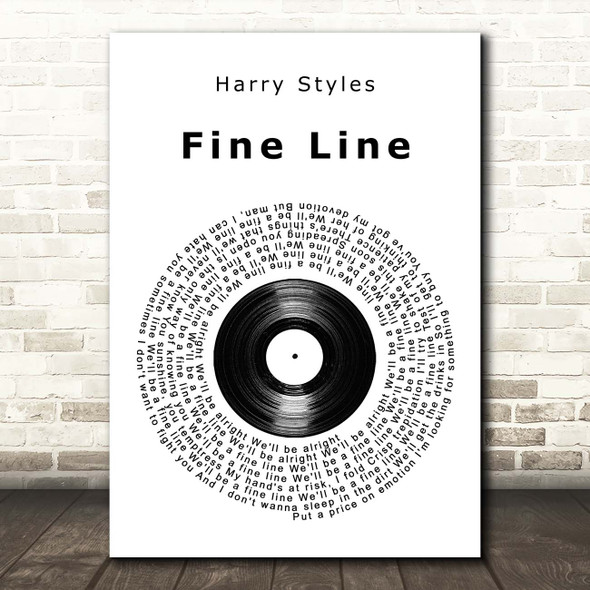 Harry Styles Fine Line Vinyl Record Song Lyric Print