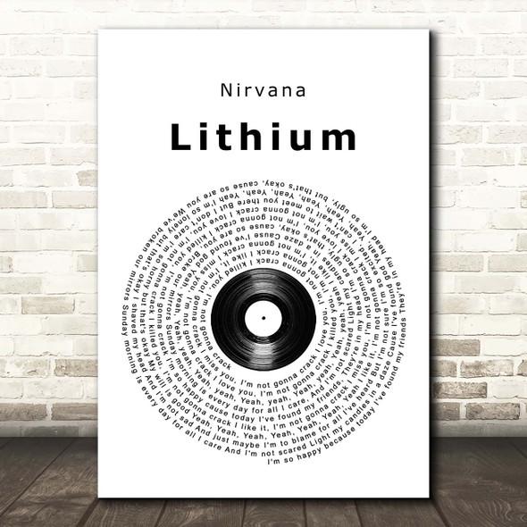 Nirvana Lithium Vinyl Record Song Lyric Print
