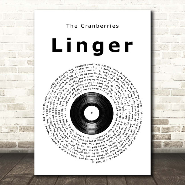 The Cranberries Linger Vinyl Record Song Lyric Print