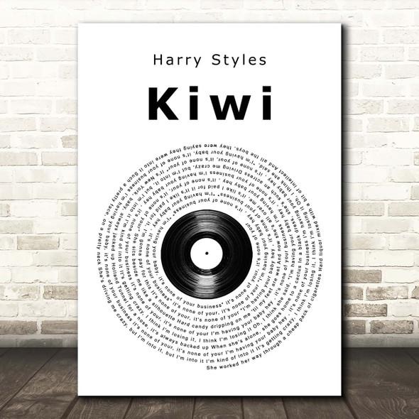 Harry Styles Kiwi Vinyl Record Song Lyric Print