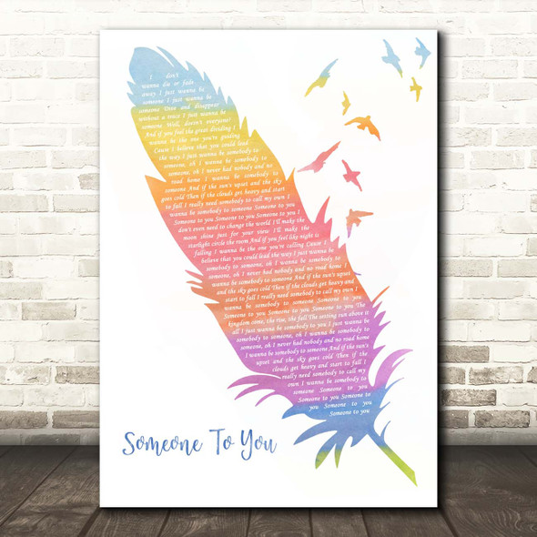 BANNERS Someone To You Watercolour Feather & Birds Song Lyric Print