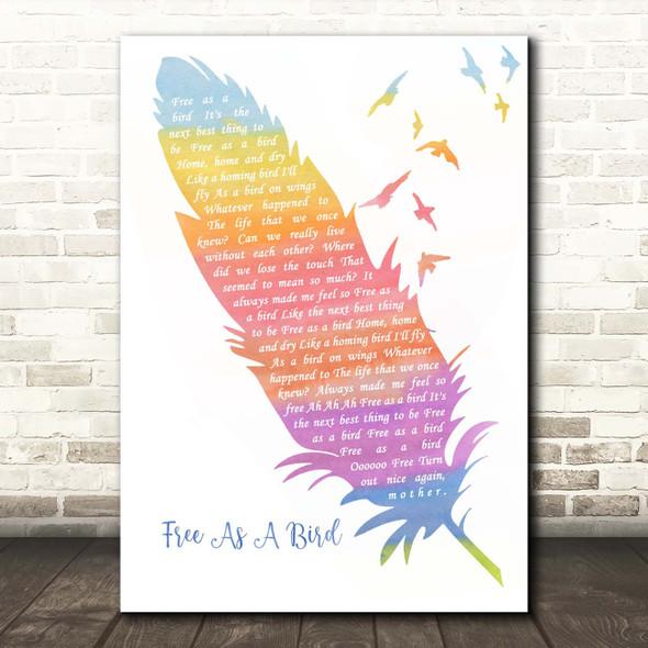 The Beatles Free As A Bird Watercolour Feather & Birds Song Lyric Print