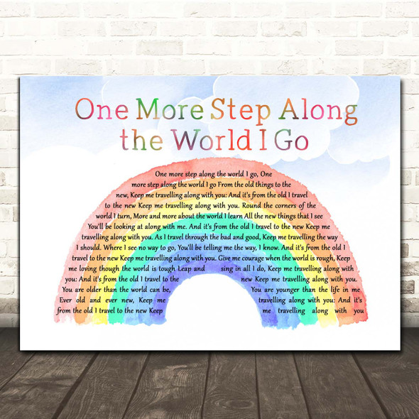 Hymm One More Step Along the World I Go Watercolour Rainbow & Clouds Song Lyric Print