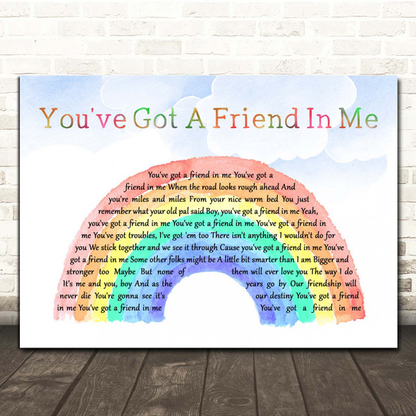 Randy Newman You've Got A Friend In Me Watercolour Rainbow & Clouds Song Lyric Print