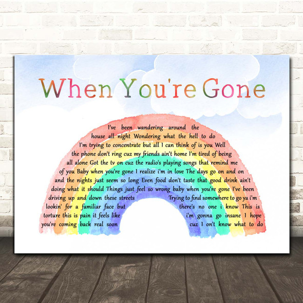 Bryan Adams When You're Gone Watercolour Rainbow & Clouds Song Lyric Print