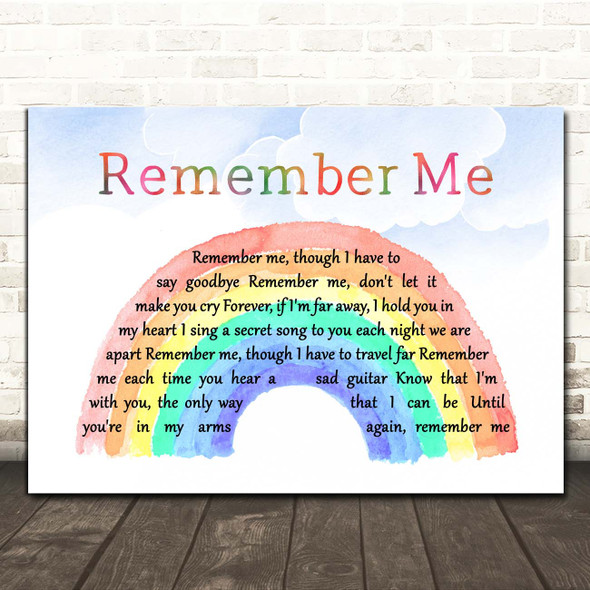 Christina Perri from Coco Remember Me Watercolour Rainbow & Clouds Song Lyric Print