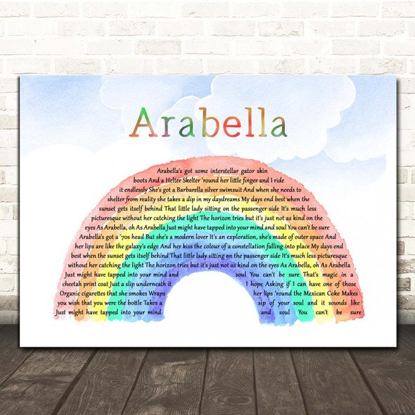 Arctic Monkeys Arabella Watercolour Rainbow & Clouds Song Lyric Print