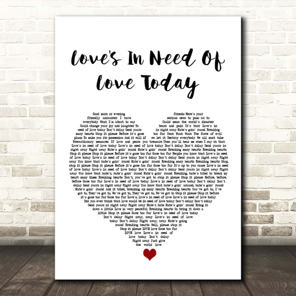 Stevie Wonder Love's In Need Of Love Today White Heart Song Lyric Print