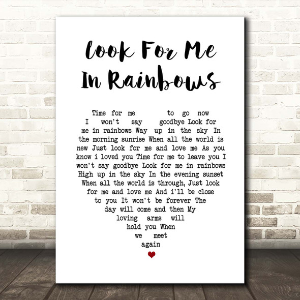 Vicki Brown Look For Me In Rainbows White Heart Song Lyric Print
