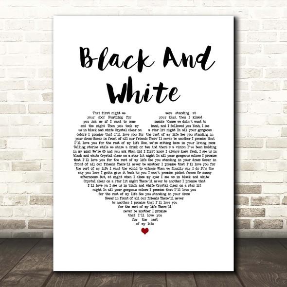 Niall Horan Black And White White Heart Song Lyric Print