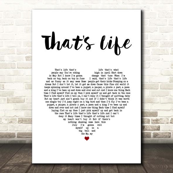 Frank Sinatra That's Life White Heart Song Lyric Print