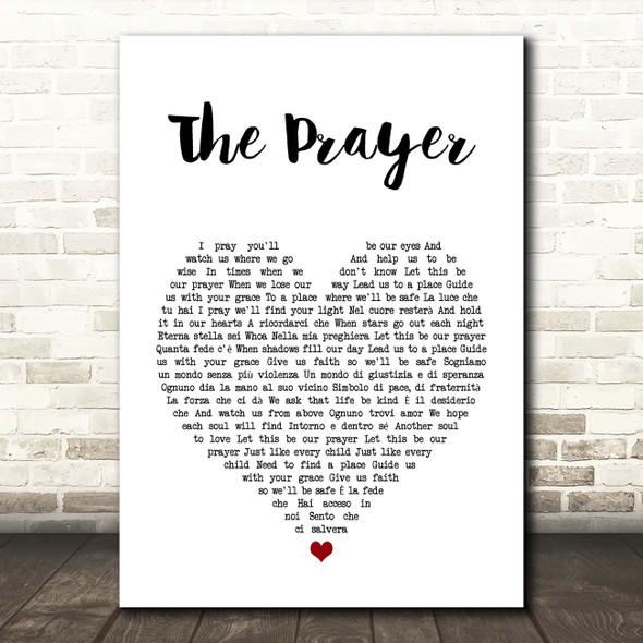 Andrea Bocelli & Celine Dion The Prayer White Heart Song Lyric Print