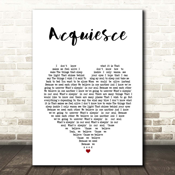 Oasis Acquiesce White Heart Song Lyric Print