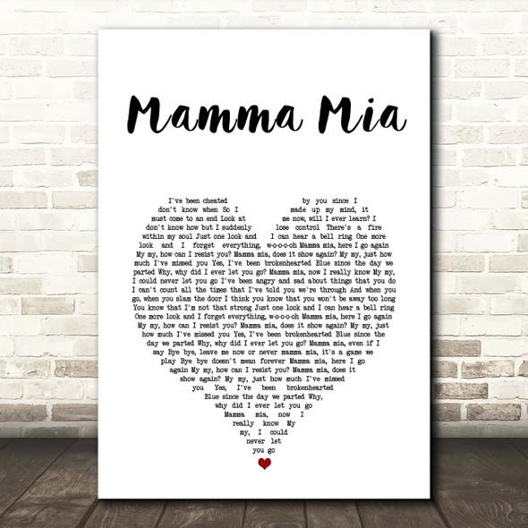 ABBA Mamma Mia White Heart Song Lyric Print