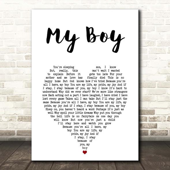 Elvis Presley My Boy White Heart Song Lyric Print