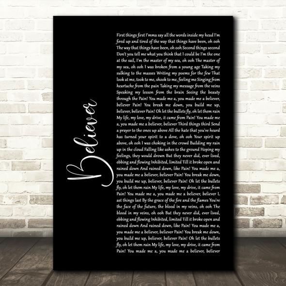 Imagine Dragons Believer Black Script Song Lyric Quote Print