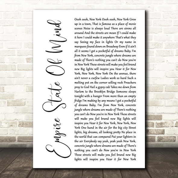 Alicia Keys Empire State Of Mind White Script Song Lyric Print