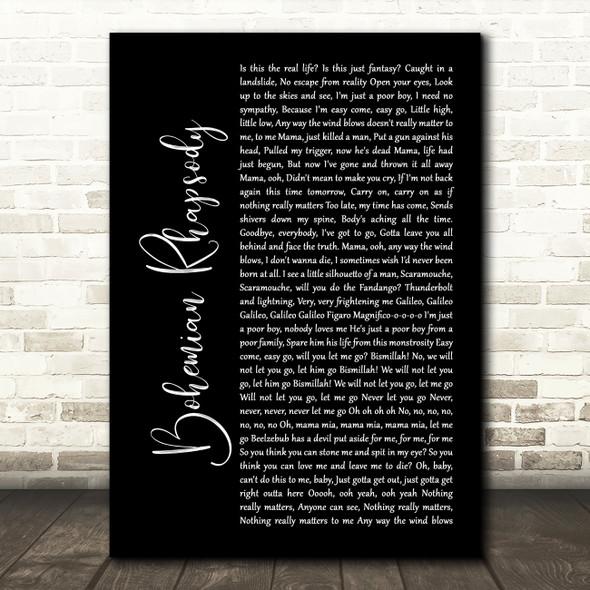 Queen Bohemian Rhapsody Black Script Song Lyric Quote Print