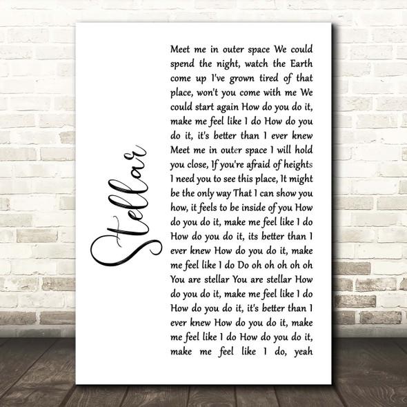Incubus Stellar White Script Song Lyric Print