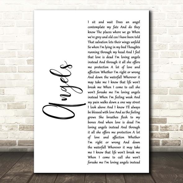 Robbie Williams Angels White Script Song Lyric Print
