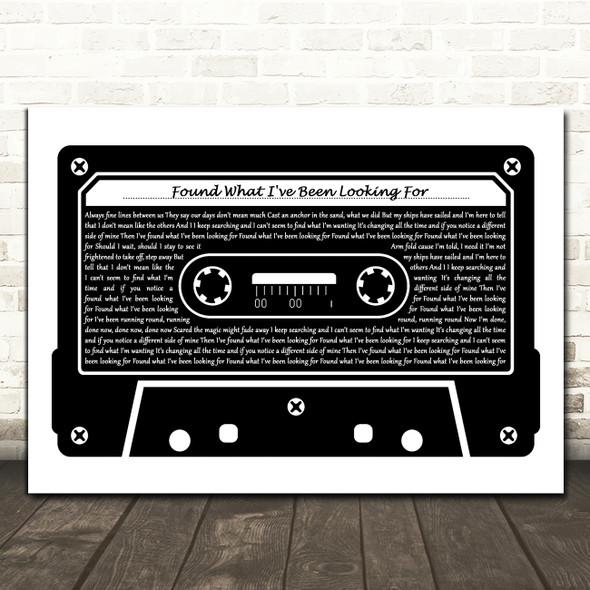 Tom Grennan Found What I've Been Looking For Black & White Music Cassette Tape Song Lyric Music Art Print