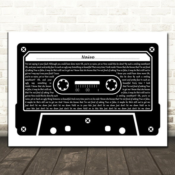 The Kooks Naïve Black & White Music Cassette Tape Song Lyric Music Art Print
