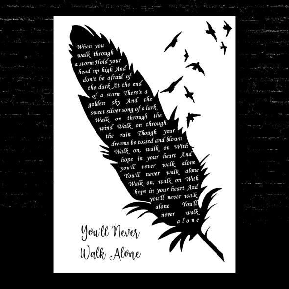 Gerry And The Pacemakers You'll Never Walk Alone Black & White Feather & Birds Song Lyric Music Art Print