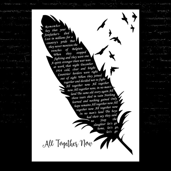 The Farm All Together Now Black & White Feather & Birds Song Lyric Music Art Print