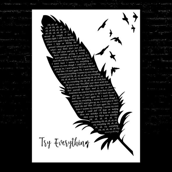 Shakira Try Everything Black & White Feather & Birds Song Lyric Music Art Print