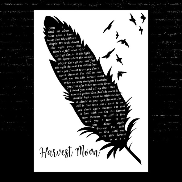 Neil Young Harvest Moon Black & White Feather & Birds Song Lyric Music Art Print