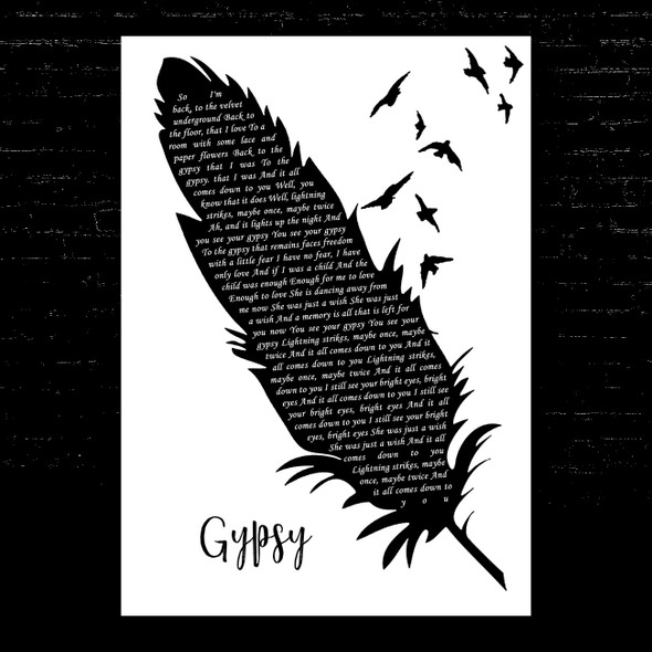 Fleetwood Mac Gypsy Black & White Feather & Birds Song Lyric Music Art Print