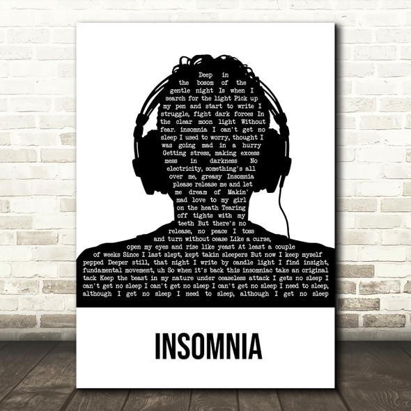 Faithless Insomnia Black & White Man Headphones Song Lyric Music Art Print