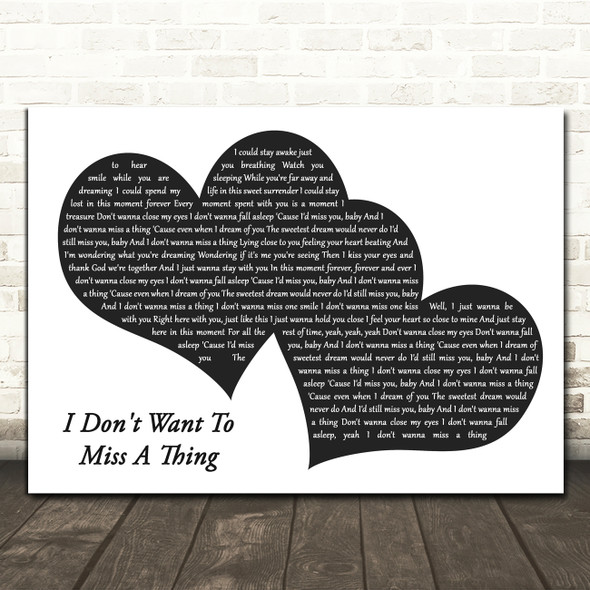 Aerosmith I Don't Want To Miss A Thing Landscape Black & White Two Hearts Song Lyric Music Art Print