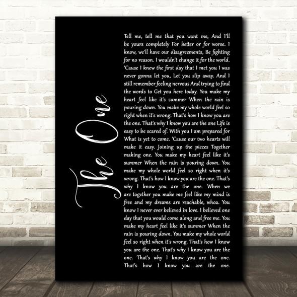 Kodaline The One Black Script Song Lyric Quote Print