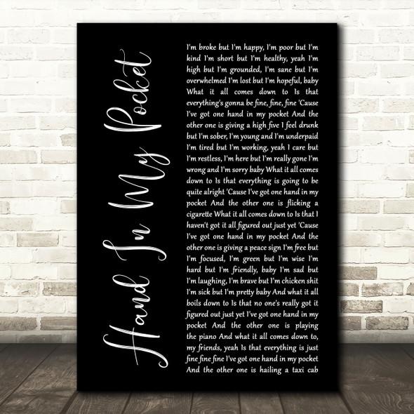 Alanis Morissette Hand In My Pocket Black Script Song Lyric Music Art Print