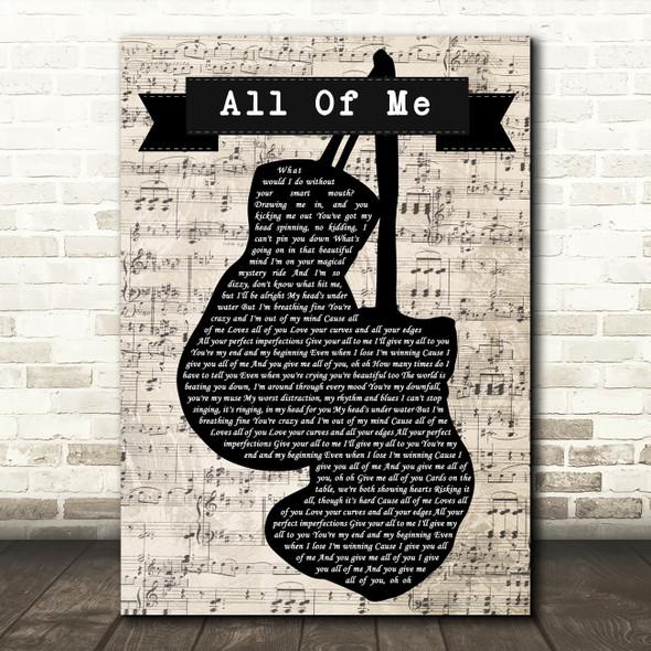 John Legend All Of Me Music Script Boxing Gloves Song Lyric Music Art Print