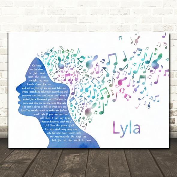 Oasis Lyla Colourful Music Note Hair Song Lyric Music Art Print