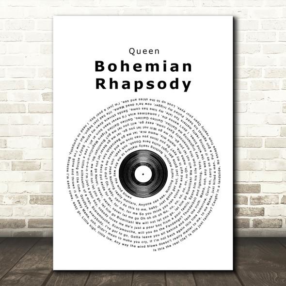 Queen Bohemian Rhapsody Vinyl Record Song Lyric Quote Print