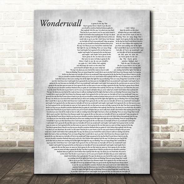 Oasis Wonderwall Father & Baby Grey Song Lyric Music Art Print